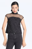 Black Abstract jacquard See-Through Shoulder Mesh Top