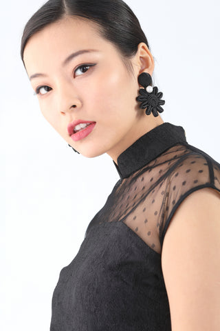 Handmade Chinese Floral Knot and Pearl Button Earrings Black