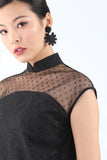 Handmade Chinese Floral Knot and Pearl Button Earrings Black - Yi-ming