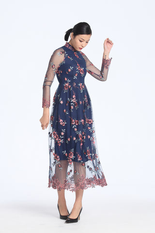 Blush And Grey Floral Embroidery On Navy Mesh Long Sleeves Gathered Full Length Dress