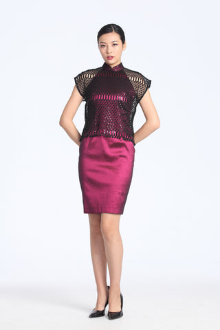 MULBERRY HALTER QIPAO WITH BLACK SEQUINED TOP