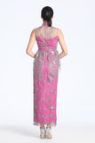 Plum Embroidery On Mesh Fuchsia Lining Peplum Full Length Qipao With Pearl Embellishment