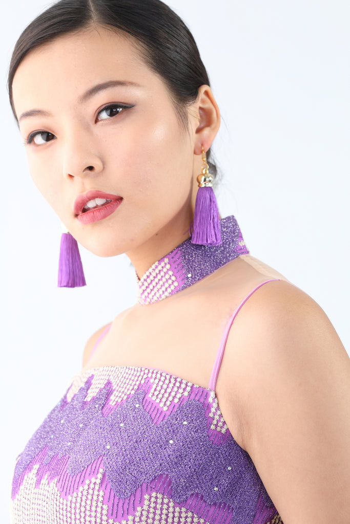 Yi-Ming Tassel Earrings Purple - Yi-ming