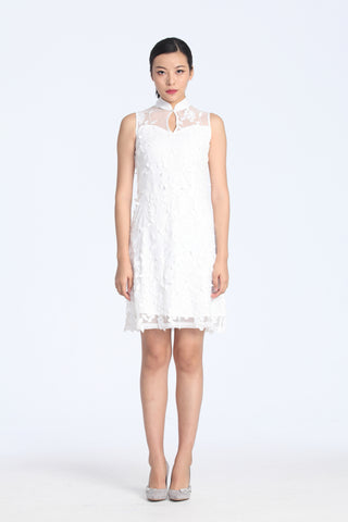 White Leaves Applique On Mesh Flare Dress