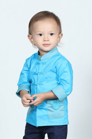 BOYS- MICKEY IN CHEONGSAM Printed Cotton Oriental Jacket (Blue)