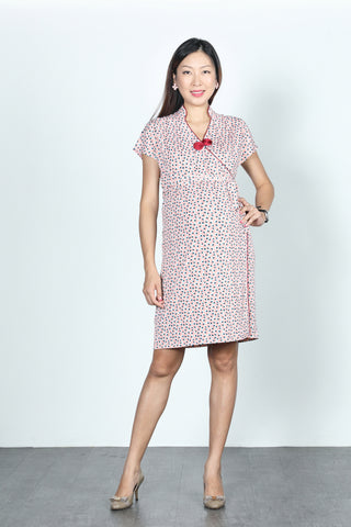 ERICA Polka Dot Wrapped Dress (Baby Pink)