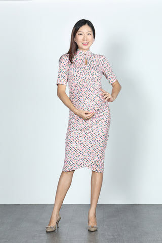 ELEANOR Polka Dot Gathered Cheongsam (Baby Pink)