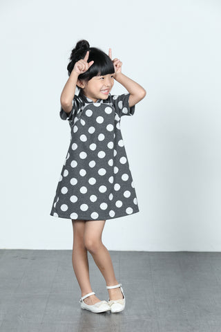 BAMBI Polka Dot Cotton Cheongsam (Grey/ White)