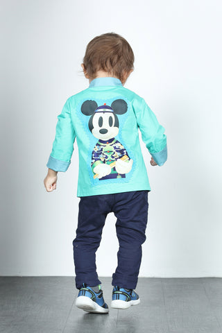 BOYS- MICKEY IN CHEONGSAM Printed Cotton Oriental Jacket (Green)