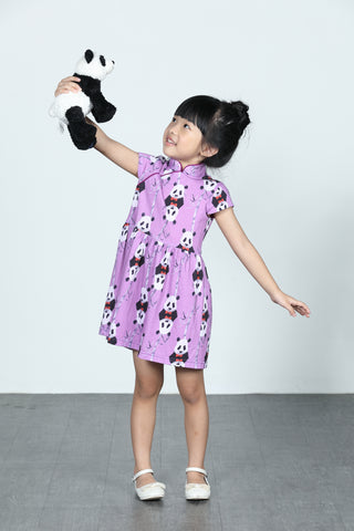 GIRLS- LEONLOLLIPOP PANDA PRINT COTTON GATHERED DRESS