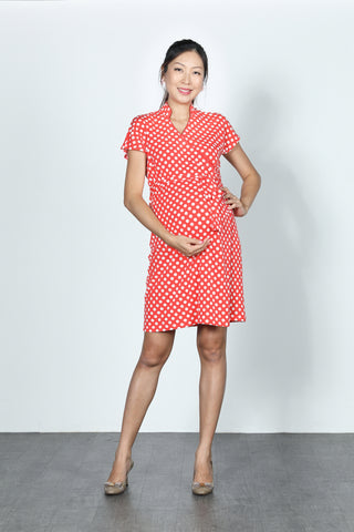 ERICA Polka Dot Wrapped Dress (Red/ White)