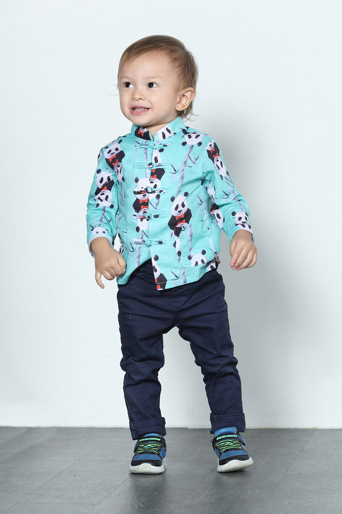 BOYS-  LEONLOLLIPOP PANDA PRINT COTTON ORIENTAL JACKET
