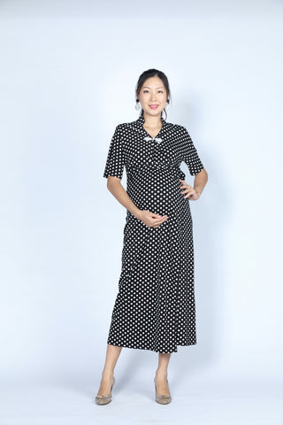 BIANCA Polka dot Long Wrapped Dress (Black/ White)