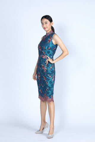 Blush and Grey Floral Embroidery on Navy Mesh Calf-length Qipao