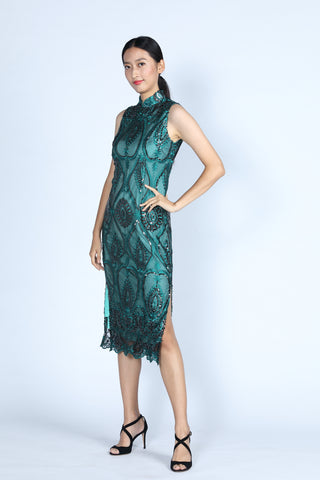 AURORA Sequinned Cheongsam (Teal)