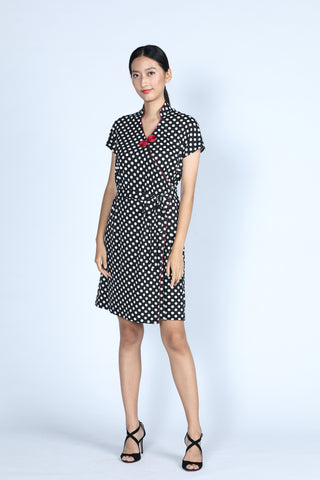 ERICA Polka Dot Wrapped Dress (Black/ White)