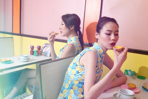 EGG TART PRINT SLEEVELESS DRAWSTRING GATHERED DRESS