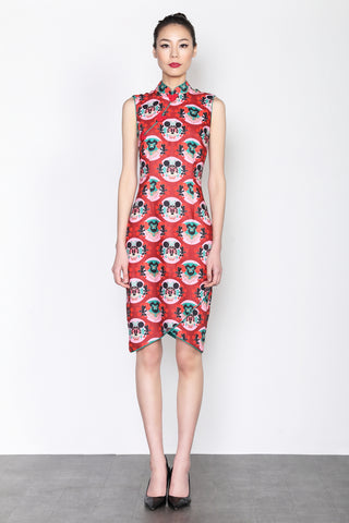 MINNIE CHINESE OPERA PRINT  SLEEVELESS DRESS WITH ASYMMETRIC HEM