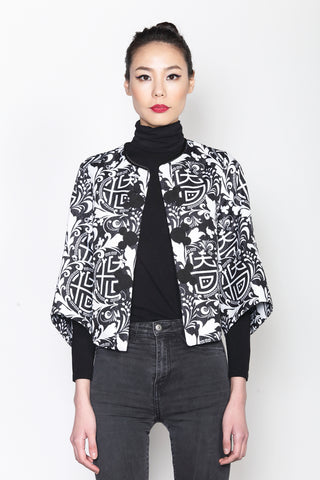 BLACK AND WHITE MICKEY CHINESE SEAL PATTERN PRINT JACKET WITH STRUCTURAL SLEEVES