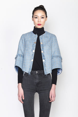 LIGHT BLUE AND GOLD FANCY TWEED JACKET WITH STRUCTURAL SLEEVES