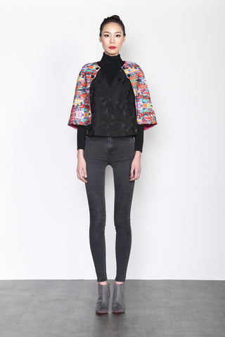 NEON LIGHT PRINT AND BLACK JACQUARD CONTRAST CAPE