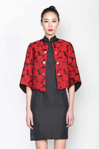 RED EMBROIDERED FLORAL BLACK JACKET WITH STRUCTURAL SLEEVES