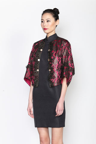 GOLD FOILED LACE AND FUCHSIA LINING JACKET WITH STRUCTURAL SLEEVES