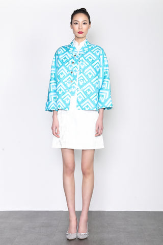 UNISEX- LIGHT BLUE RHOMBIC MICKEY PATTERN PRINT OVERSIZED ORIENTAL JACKET