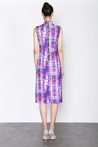 VICTORIA HARBOUR PRINT SLEEVELESS DRAWSTRING GATHERED DRESS