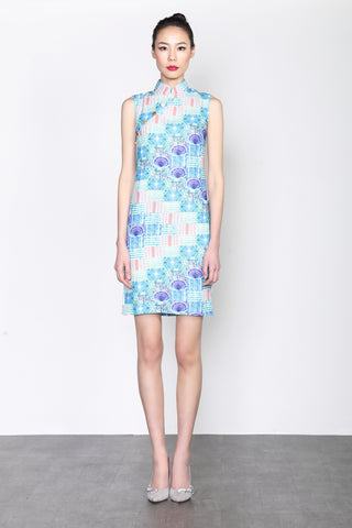 PUBLIC ESTATE PRINT SLEEVELESS QIPAO