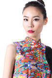 NEON LIGHT PRINT AND BLACK JACQUARD CONTRAST SLEEVELESS QIPAO