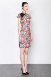 NEON LIGHT PRINT CAP SLEEVES QIPAO