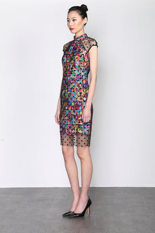 IDOL PRINT QIPAO WITH BLACK DOTTED MESH LAYER