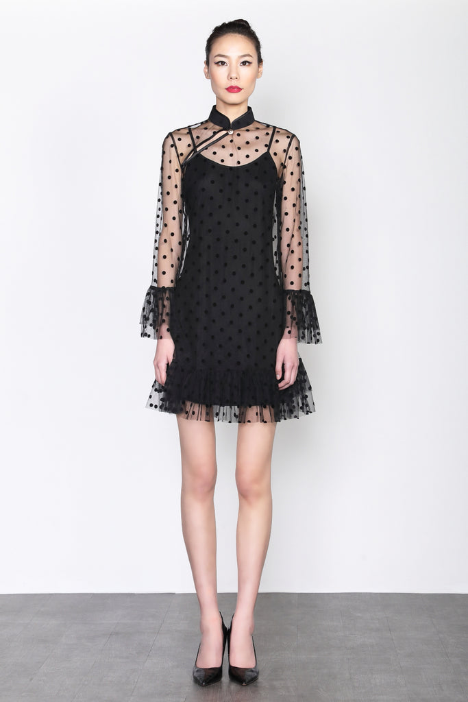 BLACK DOTTED MESH QUARTER SLEEVES DRESS WITH RUFFLED CUFF AND HEM