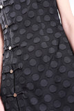 BLACK CIRCLE APPLIQUE ON MESH LONG QIPAO