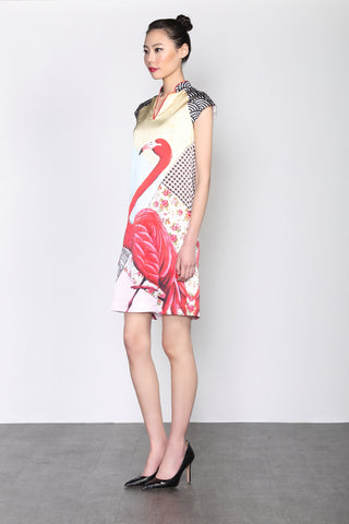 LEONLOLLIPOP FLAMINGO PRINT SILK DRESS