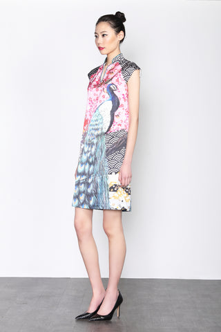 LEONLOLLIPOP PEACOCK PRINT SILK DRESS