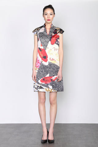LEONLOLLIPOP KOI PRINT SILK DRESS