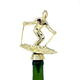 IKC Design Skiing Trophy Wine Bottle Stopper with Stainless Steel Base