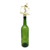 [ IKC Design ] Skiing Trophy Wine Bottle Stopper with Stainless Steel Base