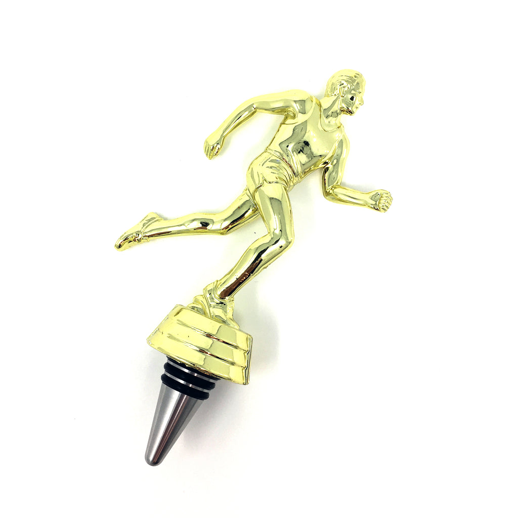 [ IKC Design ] Track Runner Trophy Wine Bottle Stopper with Stainless Steel Base