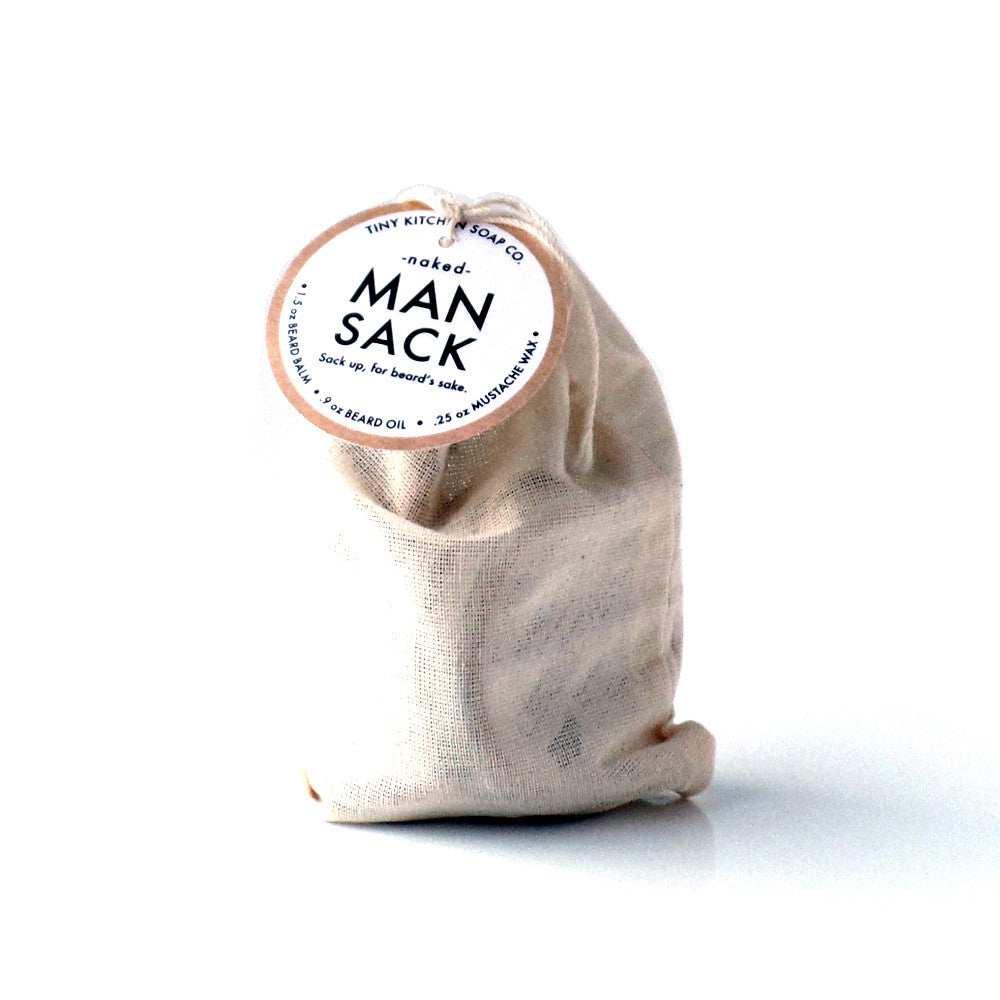 Tiny Kitchen Soap Co. Naked (Fragrance Free) Man Sack Organic Beard Grooming Kit