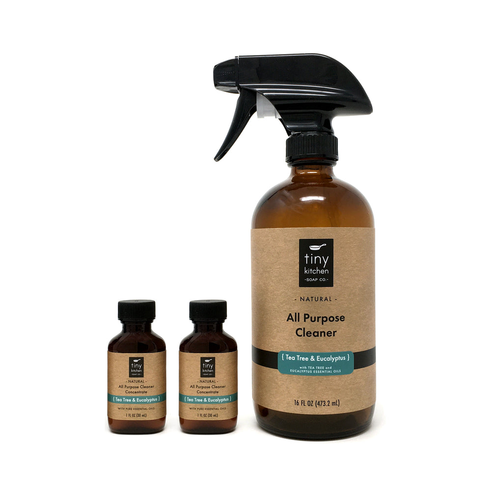 Tiny Kitchen Soap Co. Natural All Purpose Cleaner Starter Kit - Tea Tree & Eucalyptus (Glass Spray Bottle and Two Concentrated Refills)