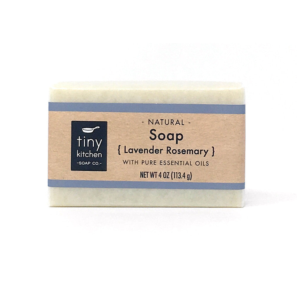 Natural Bar Soap - Lavender Rosemary - Handmade with Organic Base Oils and Pure Essential Oils