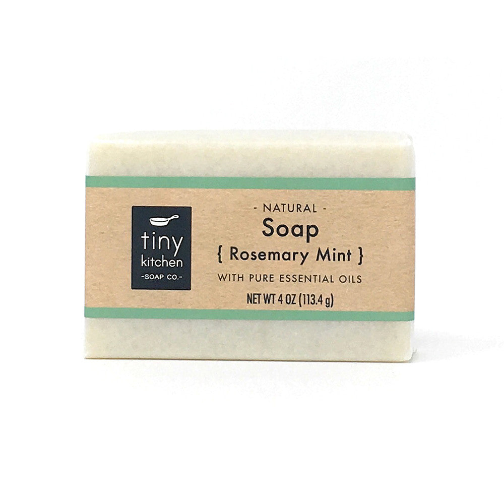 Natural Bar Soap - Rosemary Mint - Handmade with Organic Base Oils and Pure Essential Oils