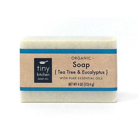 Natural Bar Soap - Tea Tree & Eucalyptus - Handmade with Organic Base Oils and Pure Essential Oils