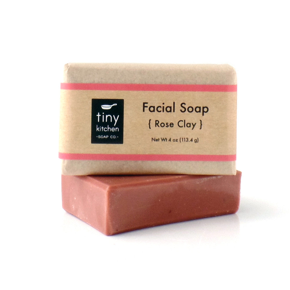 Facial Soap - Rose Clay - Handmade with All Organic Base Oils and Pure Essential Oils