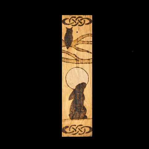 Oak Incense Stick Holder with Moon and Hare Design