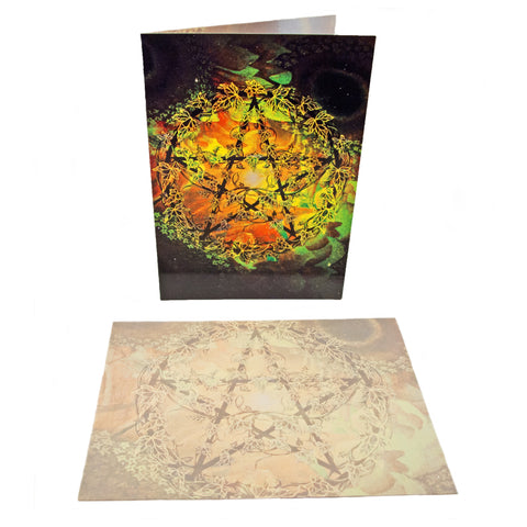 Ivy Covered Pentagram - Greetings Card