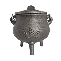 Pot-Bellied Cast Iron Cauldron with Triple Moon